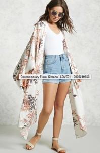 Forever21 Contemporary Floral Kimono