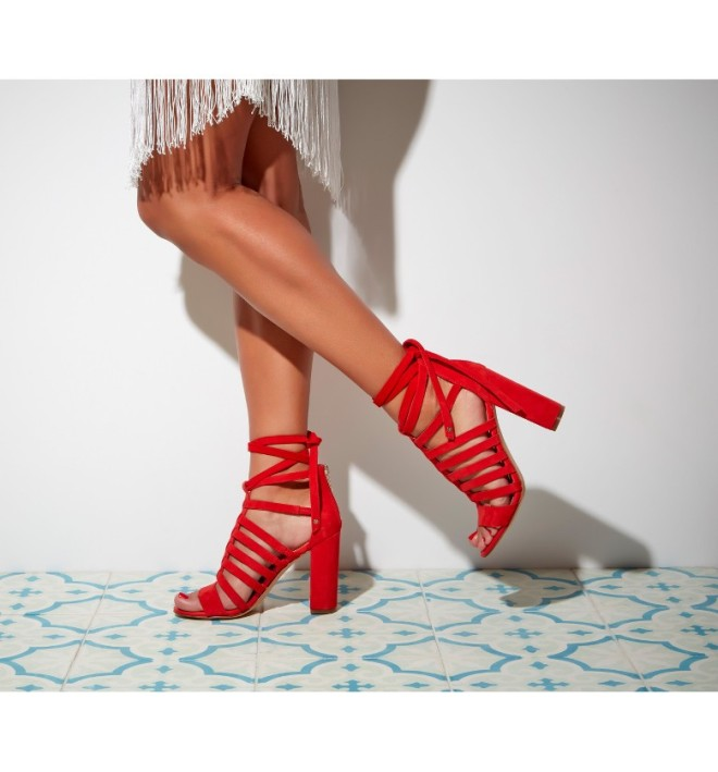 Yarina Sandal - red wraparound with heel