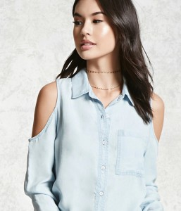 Forever 21 Open Shoulder Chambray Shirt light denim