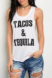 Tacos & Tequila white tank top