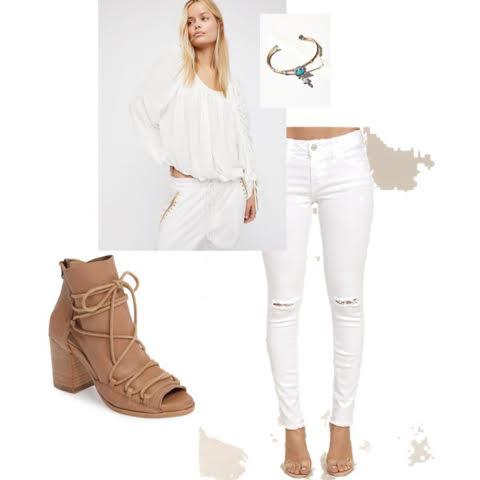 white shirt, white distressed jeans, and a nude sandal