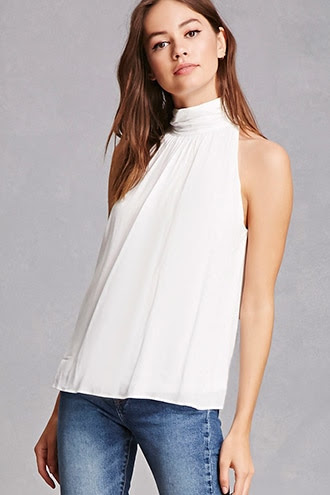 High Neck Crepe Top