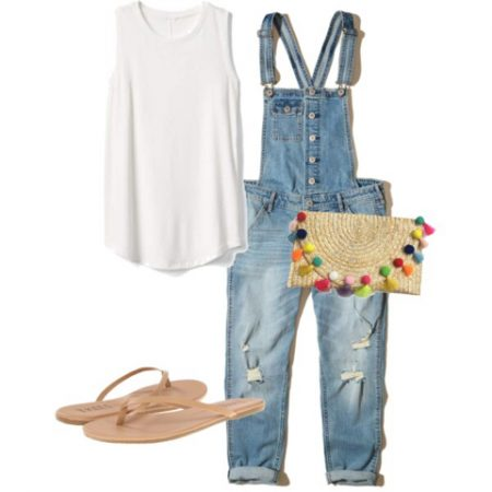 white tank, jean overalls, flip flops, and straw purse