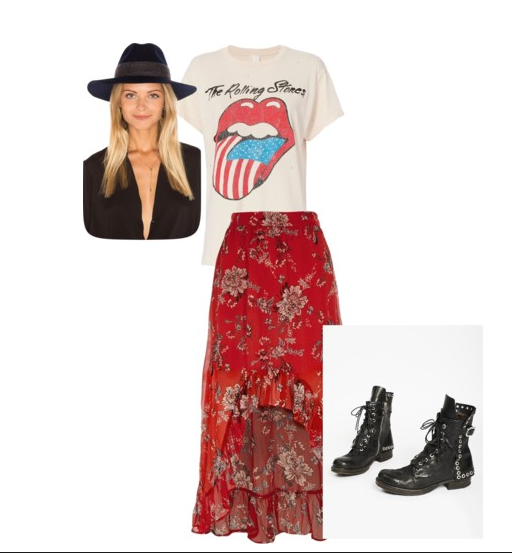 Hat, Rolling Stones T-shirt, High-Low Skirt, and Rocker Boots