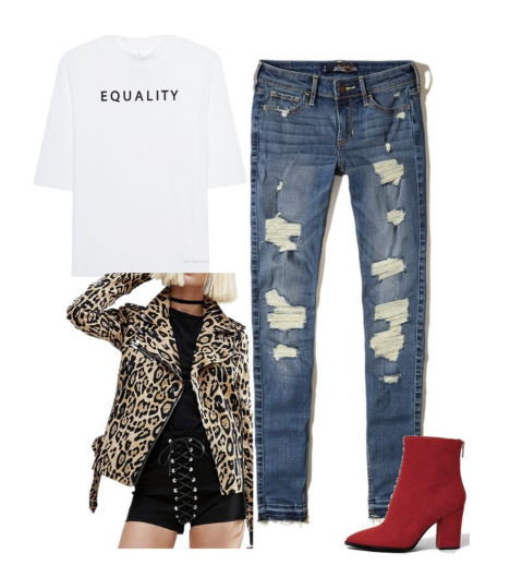 Image of outfit with leopard jacket and red boots