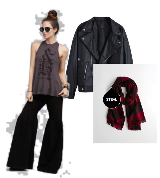 Image of Oakie and B shirt, pants, leather jacket and plaid scarf