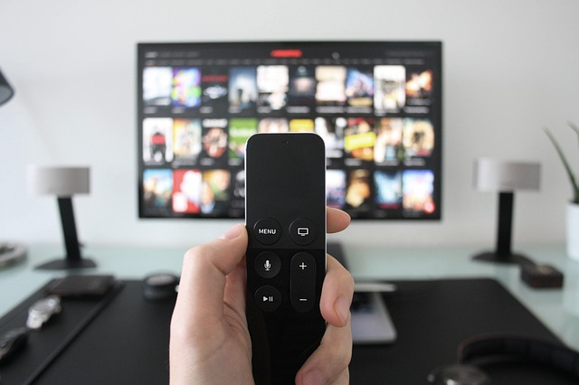 Image of remote with t.v. in background