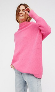 Free People sweater in hot pink