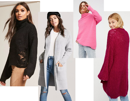 Sweater images from Forever21 and Free People