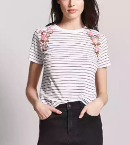Floral Embroidered Stripe Tee - $12.90