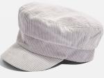 Grey Cord Baker Boy Hat