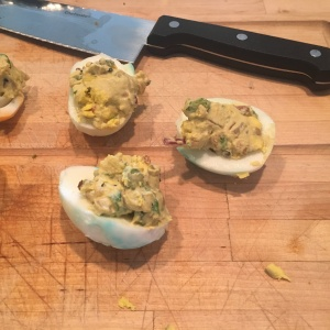 Bacon goat cheese deviled egg
