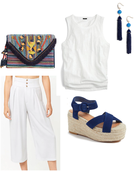 White Outfit with Navy Accessories