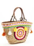Amale Tasseled & Crochet Straw Tote