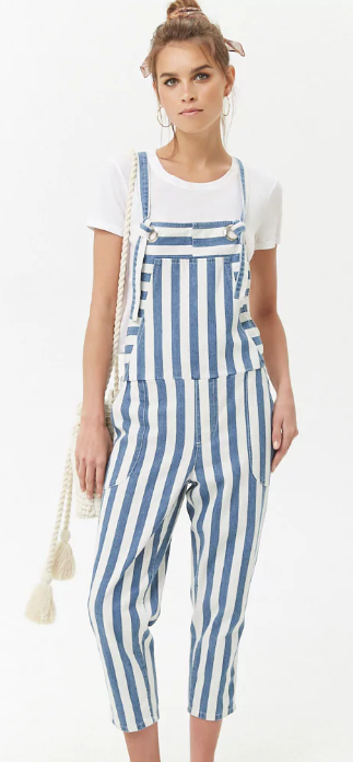 Striped Denim Overalls