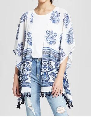 Printed Tassel Kimono - Xhilaration™ Blue - $19.99