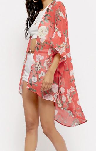 Sheer Floral Trumpet-Sleeve Kimono - $35