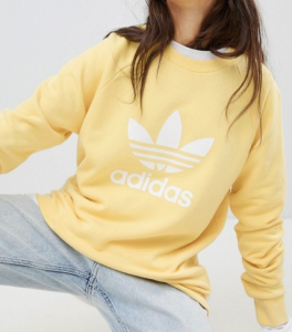 adidas Originals Trefoil Oversized Sweatshirt In Yellow
