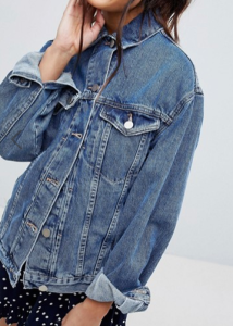 ASOS DESIGN denim girlfriend jacket in midwash blue