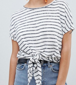 New Look Stripe Tie Front Tee