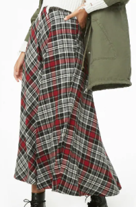 Plaid Maxi Skirt $12
