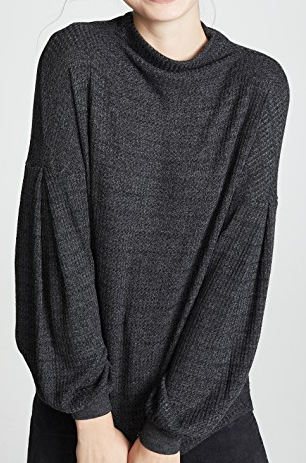Chunky Heather Thermal Bell Sweater