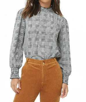 Glen Plaid Mock Neck Top - $14.90