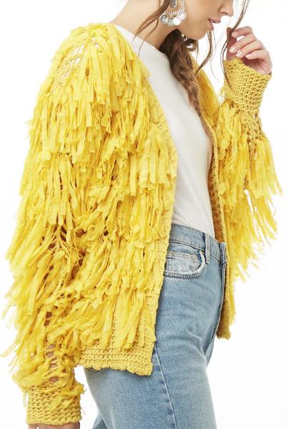 Fringe Crochet Open Knit Jacket - $42