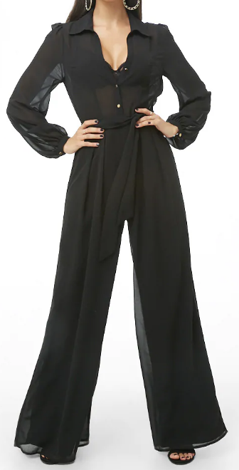 Wide Leg Shirt Jumpsuit - $42