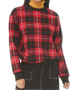 Fleece Tartan Plaid Sweatshirt