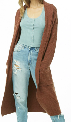 Brushed Knit Open-Front Longline Cardigan