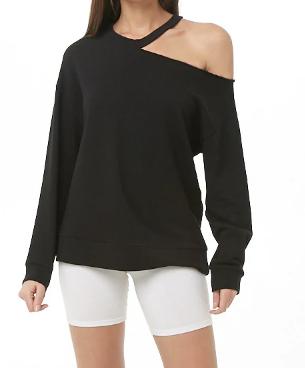 Cutout Open-Shoulder Sweatshirt