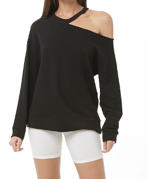 Cutout Open-Shoulder Sweatshirt
