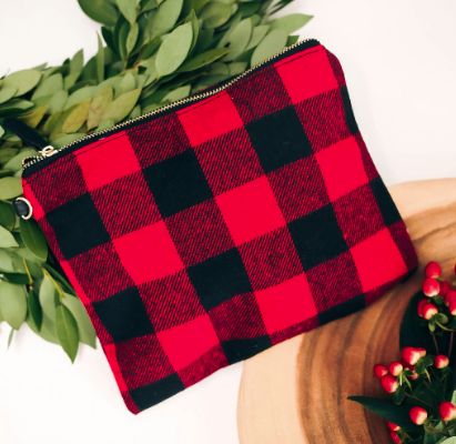 Sleigh Ride Woven Plaid Zip Clutch
